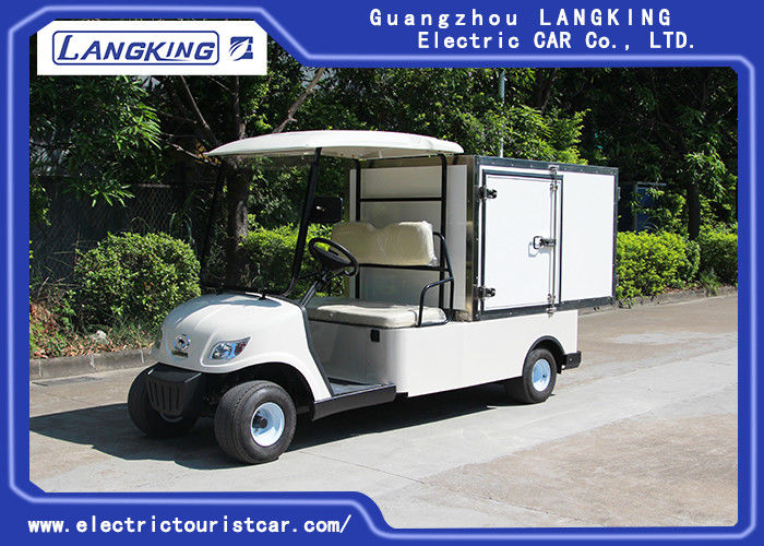 2 Person White Mini Electric Cargo Truck With Stainless Steel Cargo Box 650kg 48v 3kw DC Motor